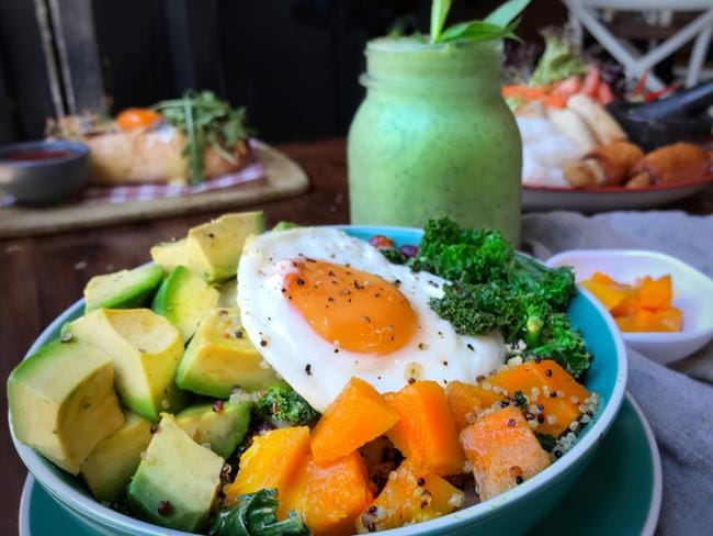 The breakfast bowl and green smoothie. Picture: Jenifer Jagielski