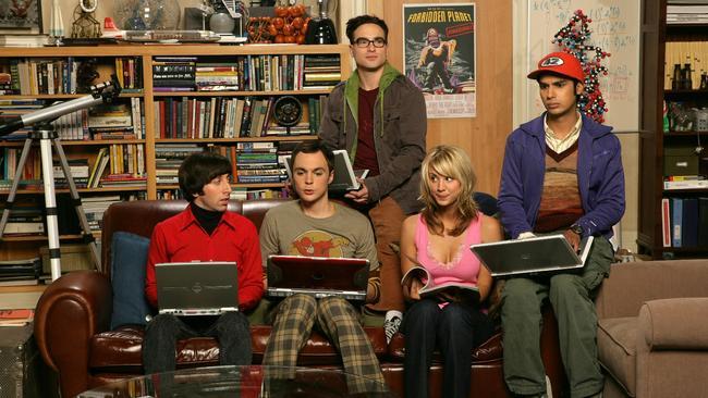 Simon Helberg as Howard, Jim Parsons as Sheldon, Johnny Galecki as Leonard, Kaley Cuoco as Penny and Kunal Nayyar as Rajesh.