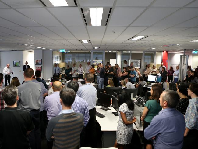 AAP chairman Campbell Reid and AAP CEO Bruce Davidson announcing AAP's closure at the head office in Sydney. Picture: AAP