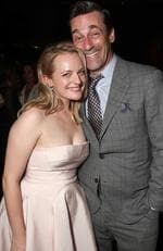 Elizabeth Moss and old Mad Men pal Jon Hamm attend Hulu's 2017 Emmy After Party. Picture: Todd Williamson/Getty Images for Hulu