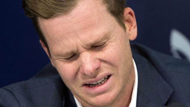 Former Australian cricket captain Steve Smith breaks down as he speaks to the media in Sydney, Thursday, March 29, 2018, after being sent home from South Africa following a ball tampering scandal. Picture: AP/Steve Christo.