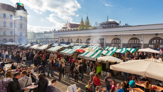 Gastronomic treats at the fresh food markets in Slovenia.