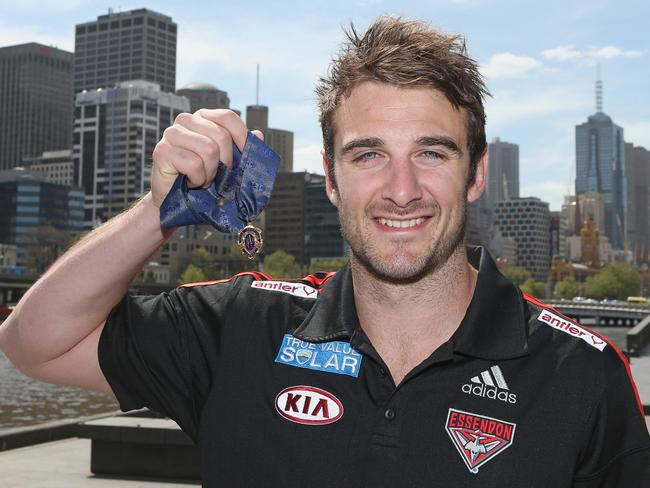 Jobe Watson with his 2012 Brownlow Medal.