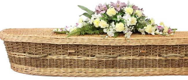 The Jude coffin, a woven basket style coffin made from natural fibres. Picture: Natural Grace