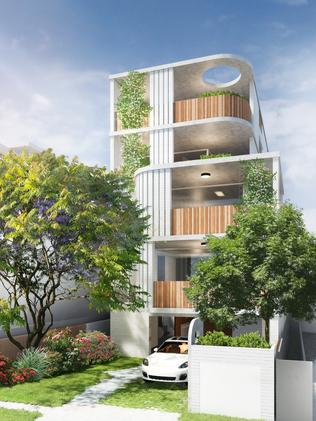 Alexandra Buchanan Architecture's proposal for a five-level apartment building at 151 Sydney St, New Farm.