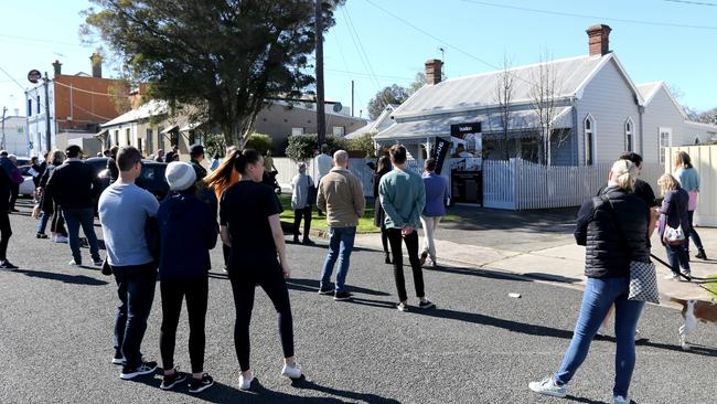 The auction at 223 Bellerine St, Geelong, drew a crowd of about 50 people. Picture: Mike Dugdale