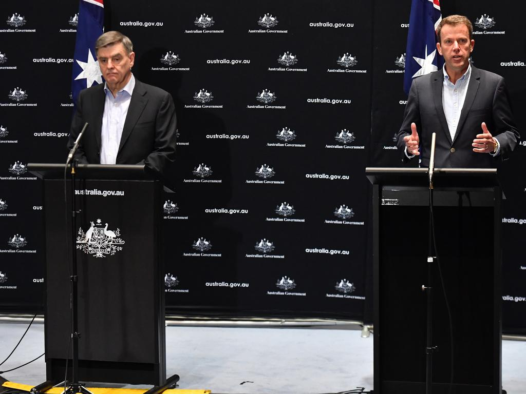 Chief Medical Officer Professor Brendan Murphy and Minister for Education Dan Tehan speak to the media at a press conference at Parliament House in Canberra. Picture: AAP