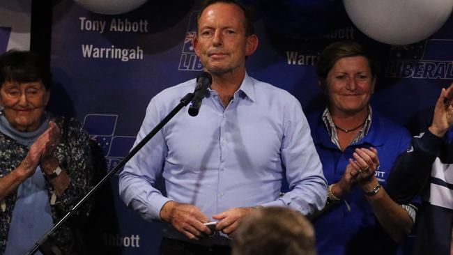 An upbeat Mr Abbott congratulated Ms Steggall for beating him. Picture: Tim Hunter.