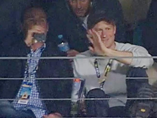 Prince Harry received the news while watching the football at a private box in Perth. PICTURE: FOX SPORTS.