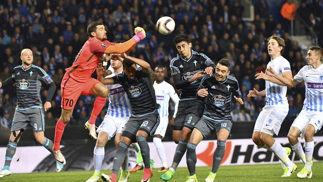 Genk's goalkeeper Mathew Ryan against Celta Vigo in the Europa League.