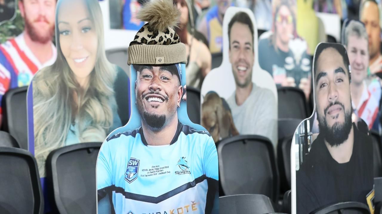 """A cardboard cut-out Fine Kula is seen wearing a Mark Hughes Foundation beanie as part of """"Beanie for Brain Cancer"""" round during the round six NRL match between the Cronulla Sharks and the Canterbury Bulldogs. (Photo by Mark Kolbe/Getty Images)"""