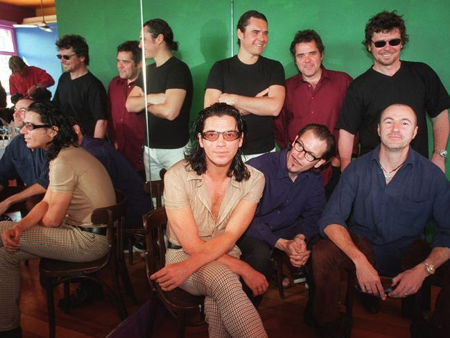 Hutchence with band his INXS bandmates in Sydney.