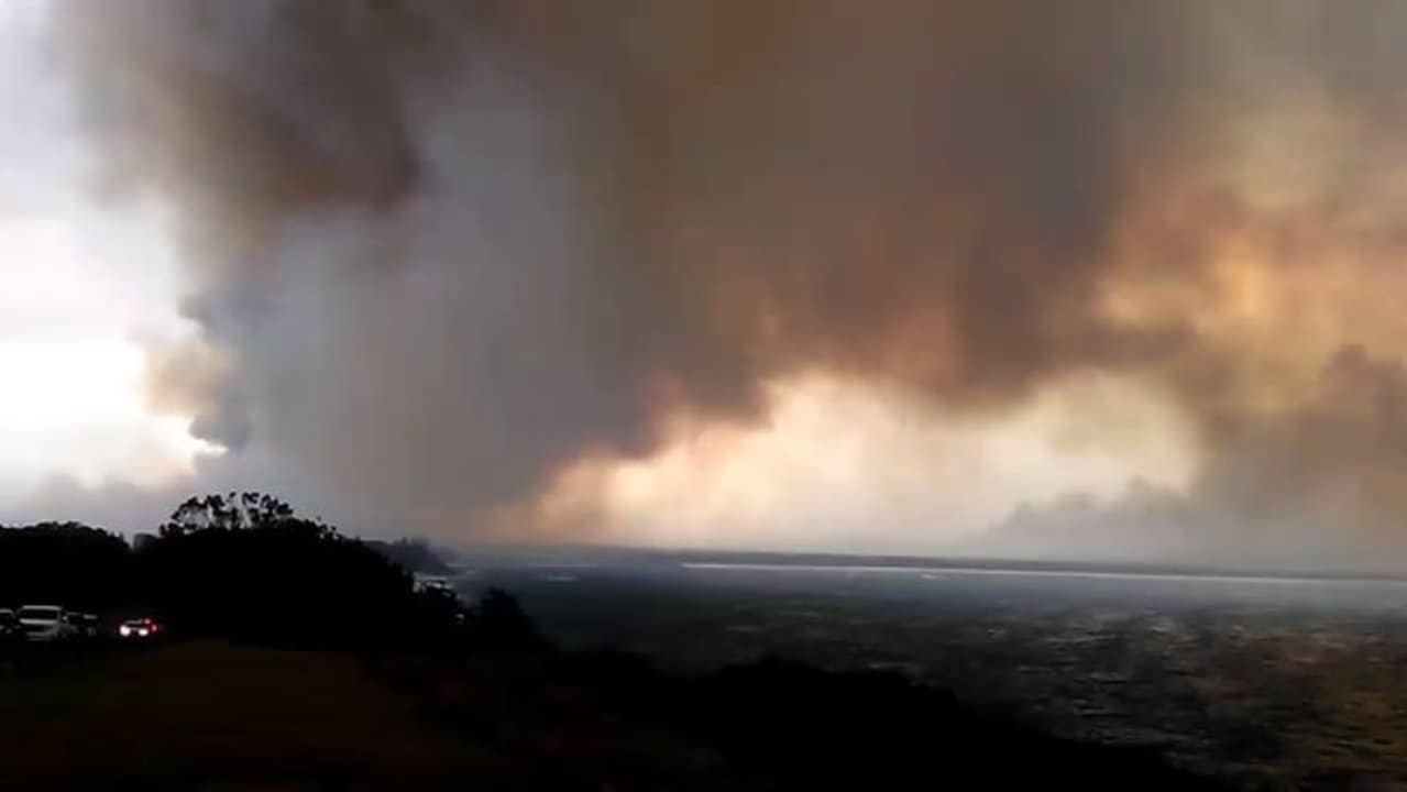 Smoke Blankets Sky Near Forster as Fires Rage on Mid North Coast of New South Wales