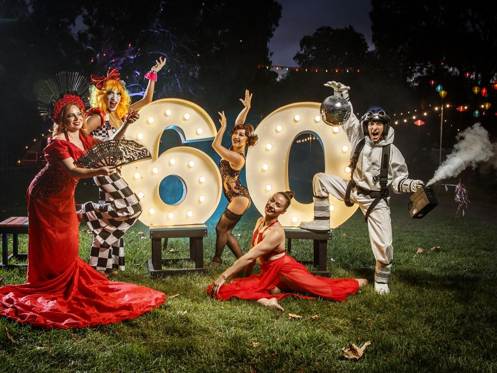 Celebrating the Fringe's 60th year are performers Issie Hart from Rouge, Pixel Witch from Blunderland, Uugi from Blanc de Blanc Encore, Carlie Hunter from LOST and Remi Martin from L.I.A.R (Life Is A Rehearsal) at the Garden of Unearthly Delights. Picture: Matt Turner.