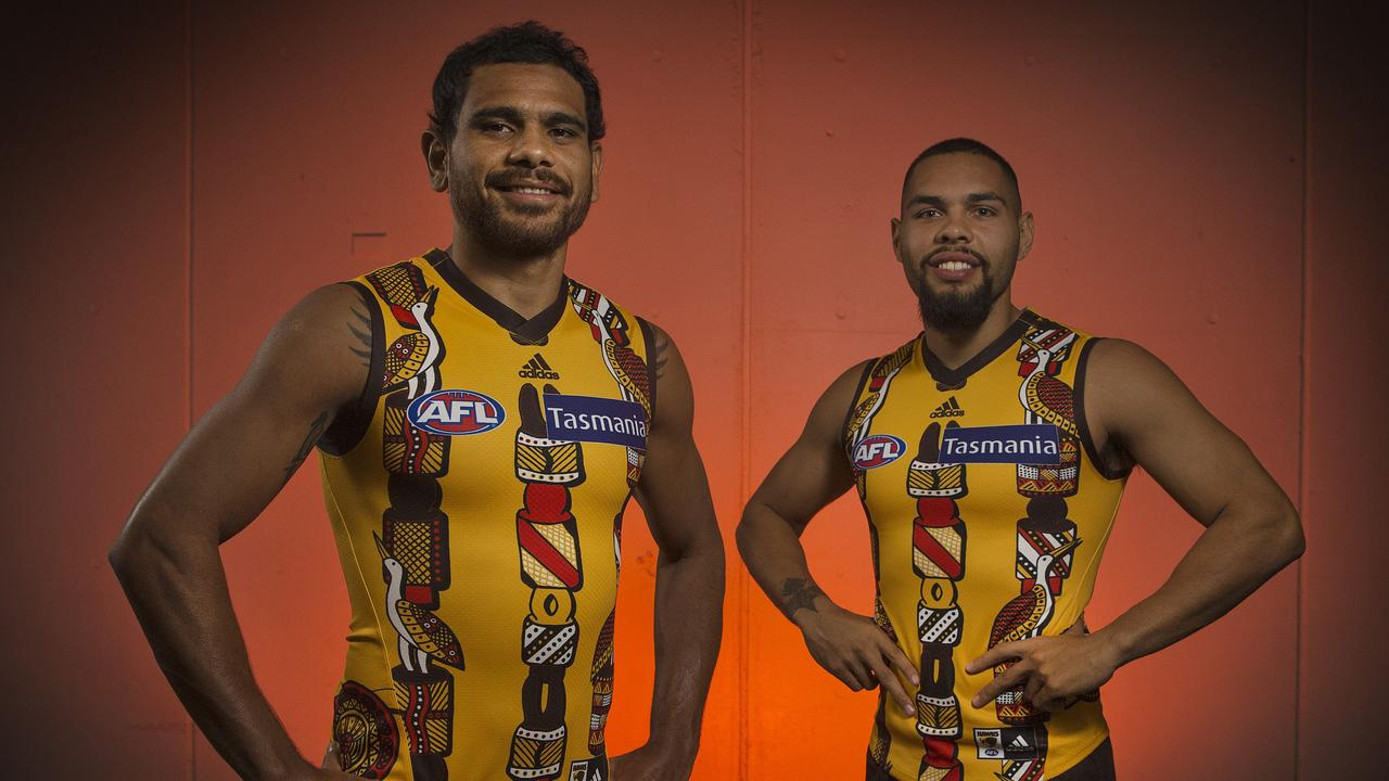 Hawthorn's Cyril Rioli and Jarman Impey in this year's indigenous round jumper. Picture: Michael Klein