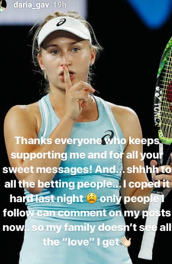 Daria Gavrilova's message to her fans and trolls.