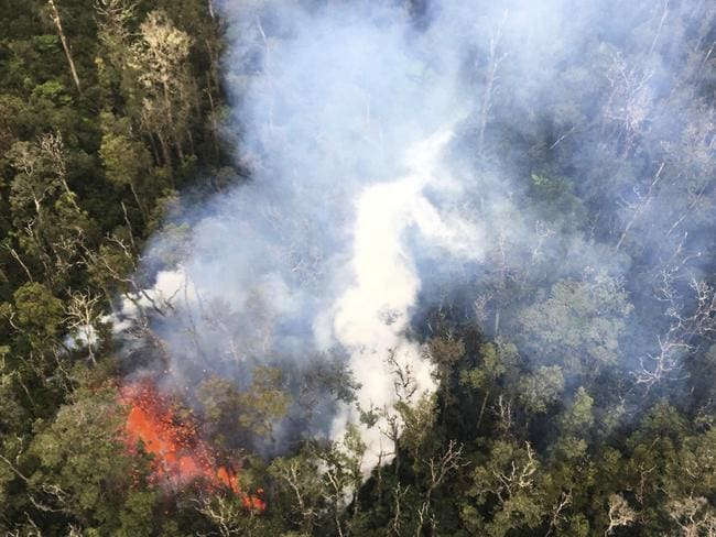 In this May 7, 2018 photo provided by the US Geological Survey, smoke rises from a fissure in Leilani Estates in Pahoa, Hawaii. Picture: AP