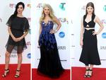 Singers Adalita Srsen, Anja Nissen and Rachael Leahcar arrives at the ARIA Awards 2014 in Sydney. Picture: Adam Taylor