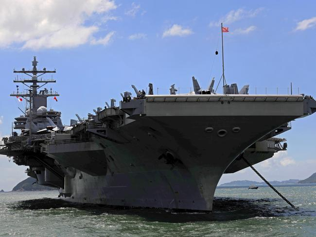 The USS Ronald Reagan aircraft carrier arrives in Hong Kong. Picture: AP