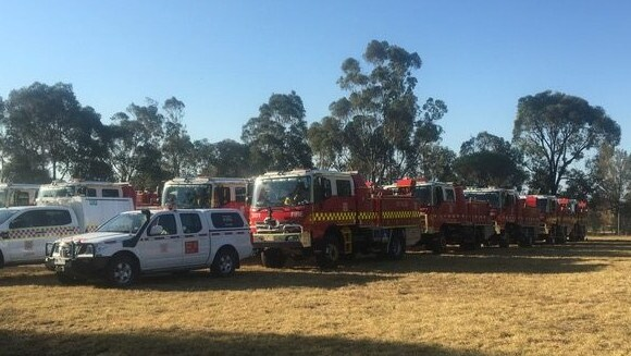 Firefighting equipment on standby to fight the Timbarra fire. Picture: Trevor Owen/Twitter