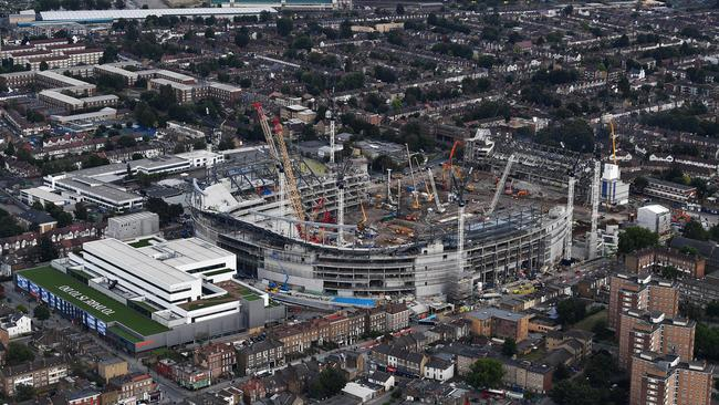 An aerial view of White Hart Lane Stadium as construction work continues.