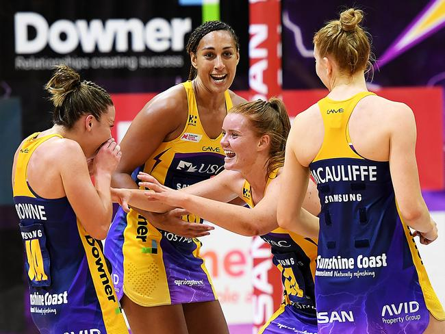 Sunshine Coast celebrate their win over the Firebirds in round nine. Picture: Getty Images