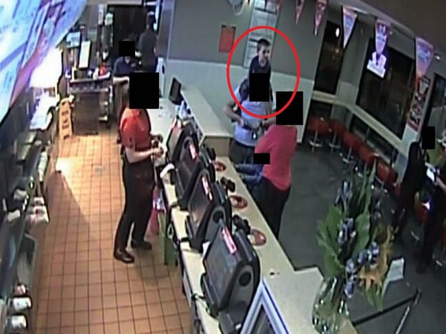 William Tyrrell (circled) on the shoulders of his foster father at McDonalds, on the last trip he took on the evening before his abduction. Picture: NSW Coroner