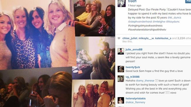 "Sam posted a collection of pictures from her ""finale party"" which show her having a great time with friends."