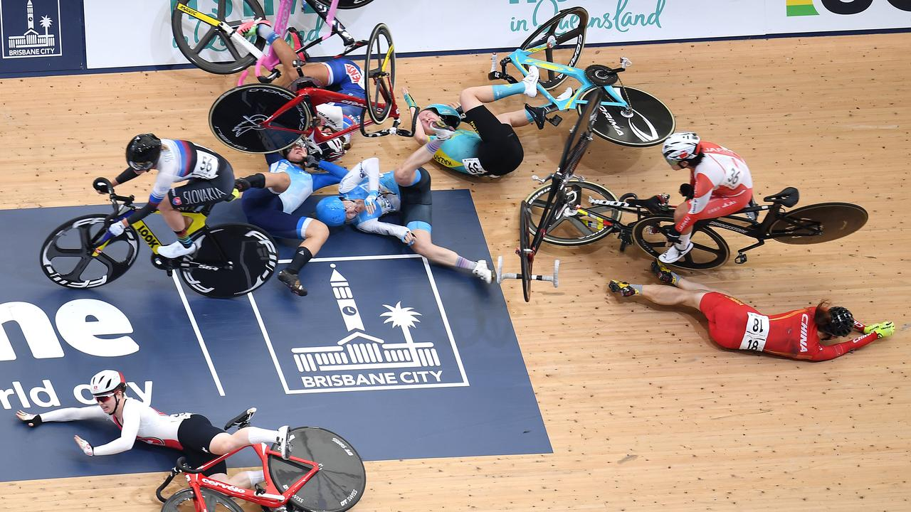 Bodies were left all over the velodrome. (AAP Image/Dan Peled)