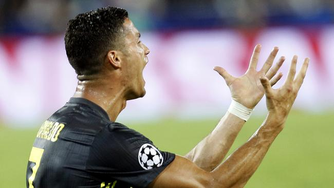 d3dd43601a3 Juventus forward Cristiano Ronaldo reacts after receiving a red card