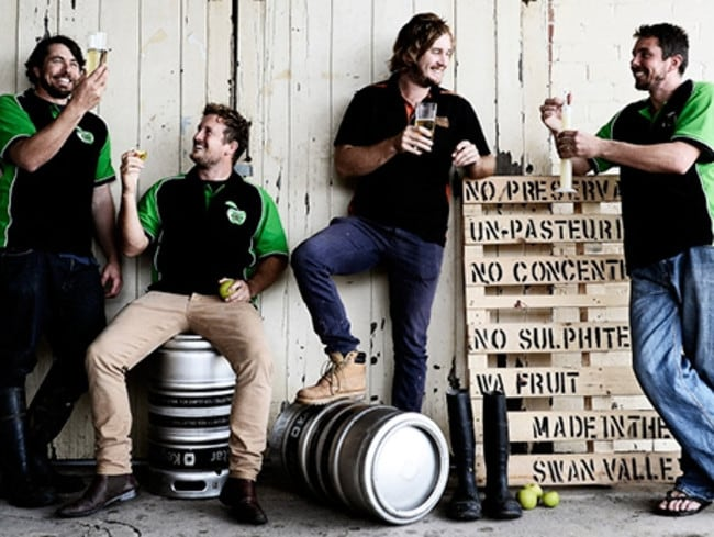 Martin Michael, Dustin Michael, Adam Watts and Peter Watts, two sets of brothers behind Four Brothers Cider. Picture: Richard Hatherly