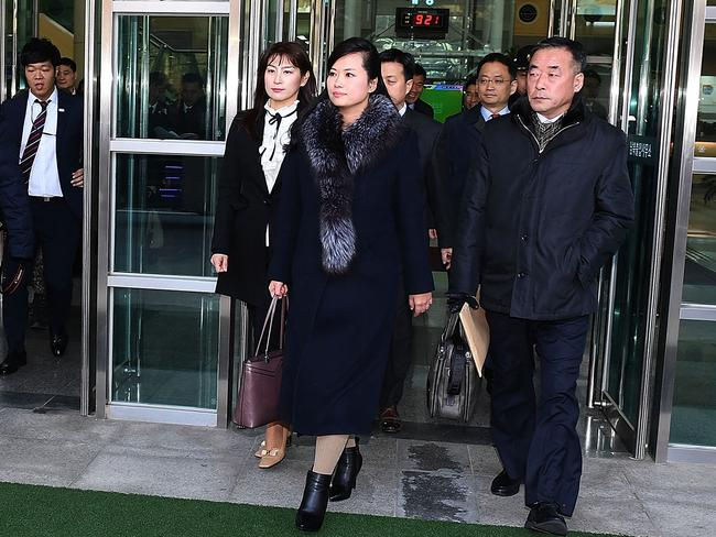 Hyon Song-wol, head of the North Korea's Samjiyon Orchestra, delegations arrive at the customs, immigration and quarantine (CIQ) office in Paju, South Korea. Picture: Getty