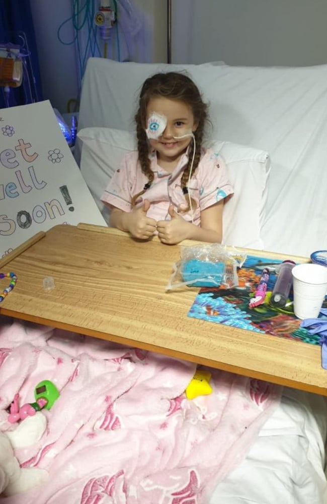 Annabelle couldn't walk or talk for five days after her brain surgery due to complications. Picture: The Brain Tumour Charity