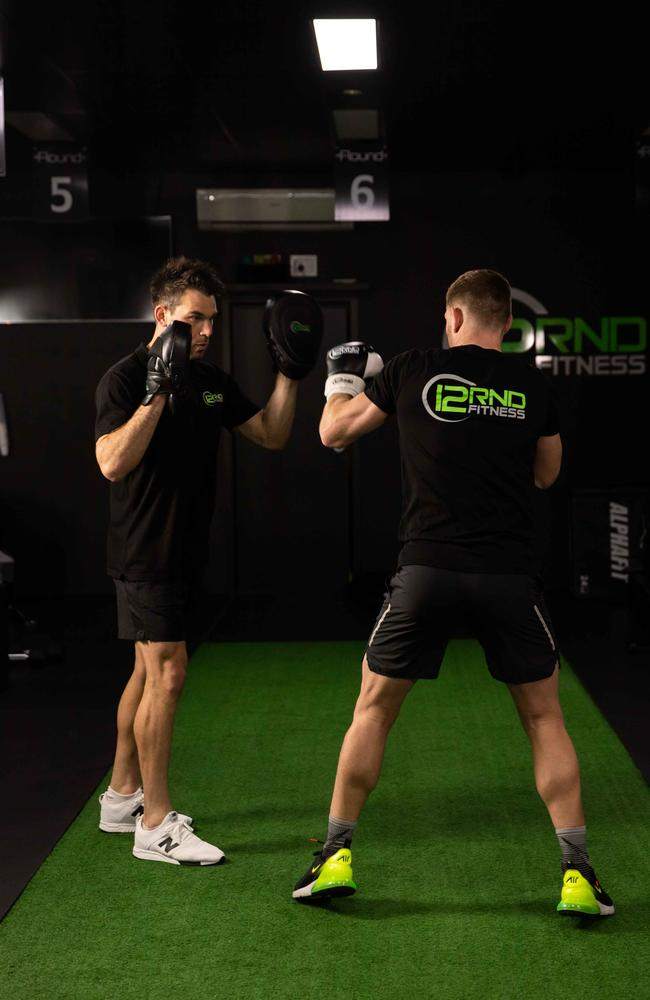 Taylor uses boxing as our source of cross-training and when asked if it helps sculpt those biceps, he laughs and says: 'Yeah, it does that too'.