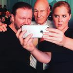 "Amy Schumer with Ricky Gervais and Patrick Stewart, ""Learning my best angles."" Picture: Instagram"
