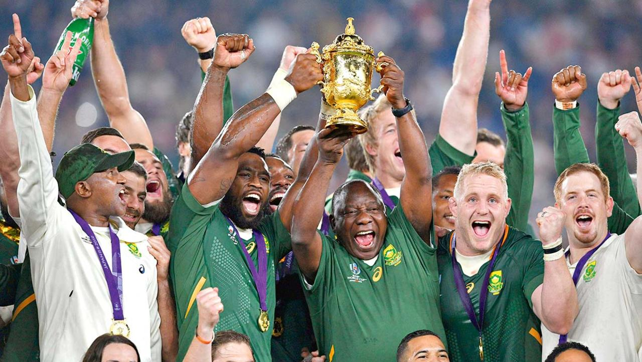 Siya Kolisi (2nd left) led South Africa to World Cup glory in 2019.