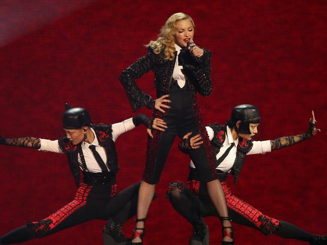 Pop star ... Madonna performs at the Brit Awards 2015. Picture: Joel Ryan/Invision/AP