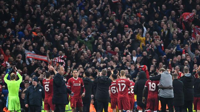 Liverpool players show appreciation to the fans after the UEFA Champions League Quarter Final Second Leg match between Manchester City and Liverpool