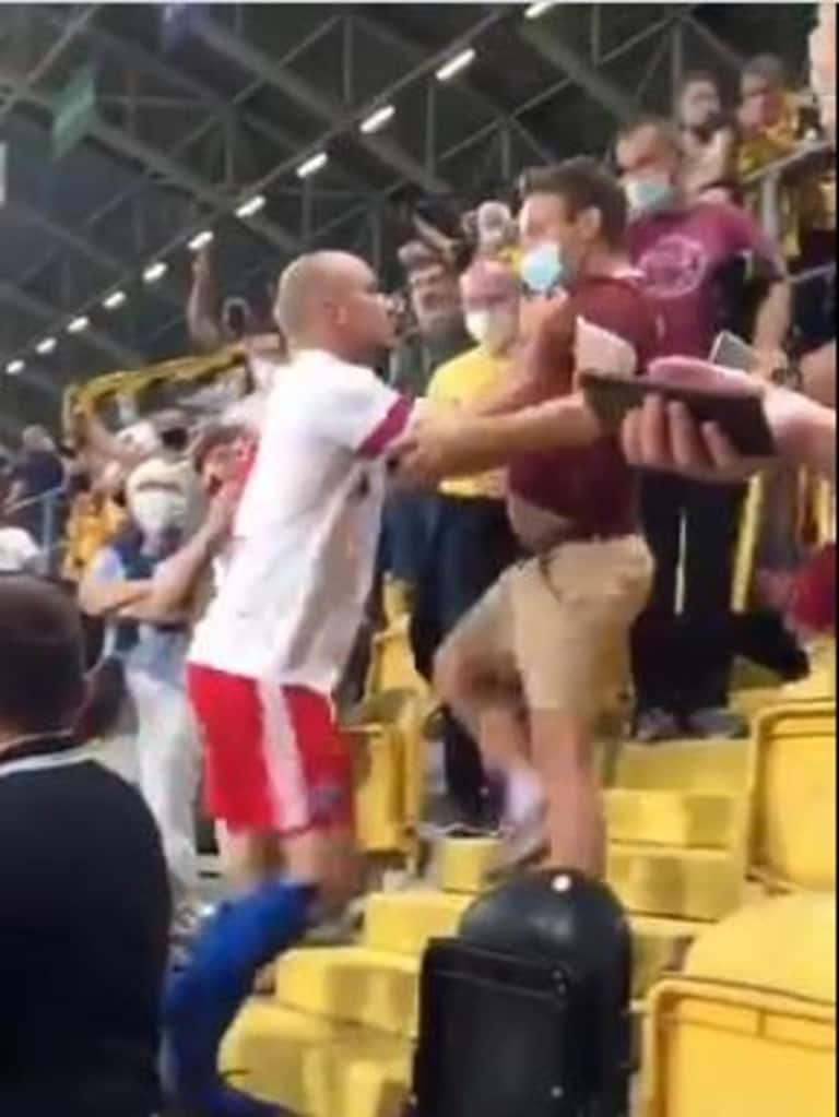Hamburg's Tony Leistner attacked an abusive fan in the stands.