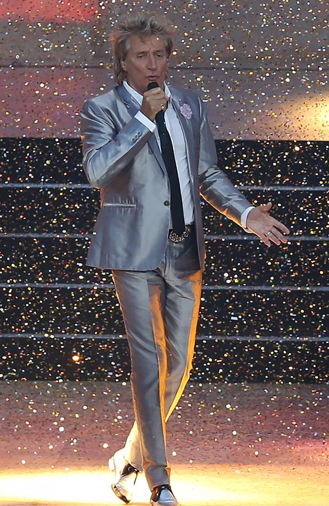 Rod Stewart and his epic suit at the Commonwealth Games opening ceremony.