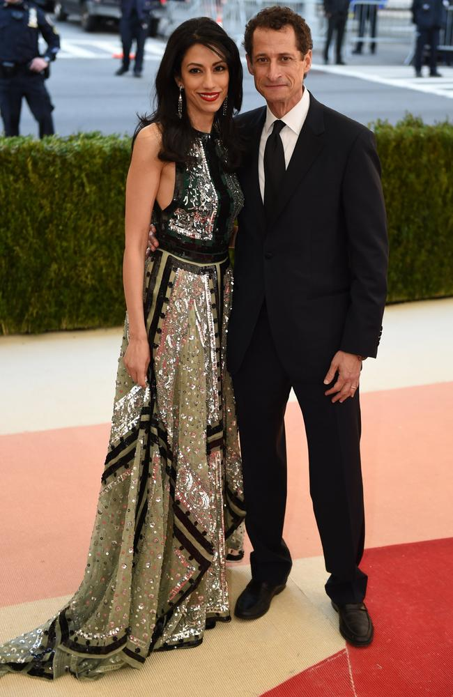 a139ac4b64 Huma Abedin, with disgraced husband Anthony Weiner at the Met Gala in 2016,  has