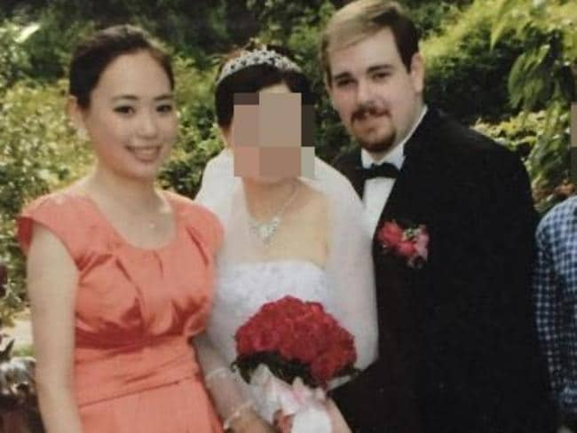 Michelle Leng, left, at her aunt's 2012 wedding to Derek Barrett (right) who murdered his niece four years later.