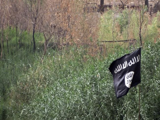 Gone to ground ... A black flag used by the Islamic State group extremists flutters over their combat positions on the front line with Iraqi security forces and allied Shiite militiamen and Sunni tribal fighters on the outside of Ramadi, the capital of Iraq's Anbar province. Source: AP