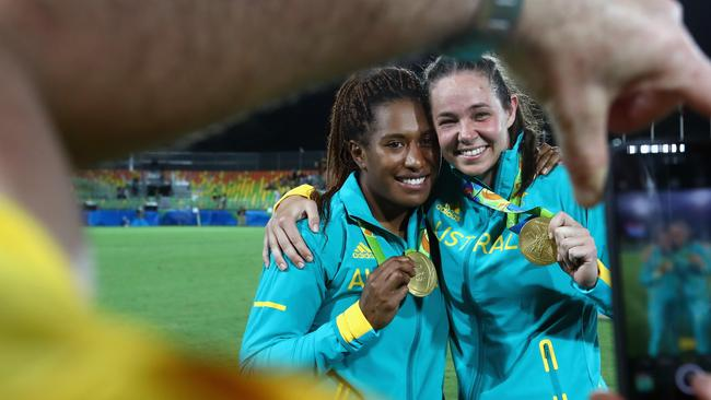 Gold medallists Ellia Green and Chloe Dalton celebrate in Rio.