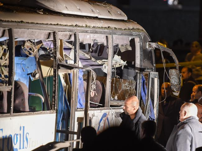 This picture taken on December 28, 2018 shows a view of a tourist bus which was attacked in Giza province south of Cairo, killing two and injuring 10. Picture: AFP