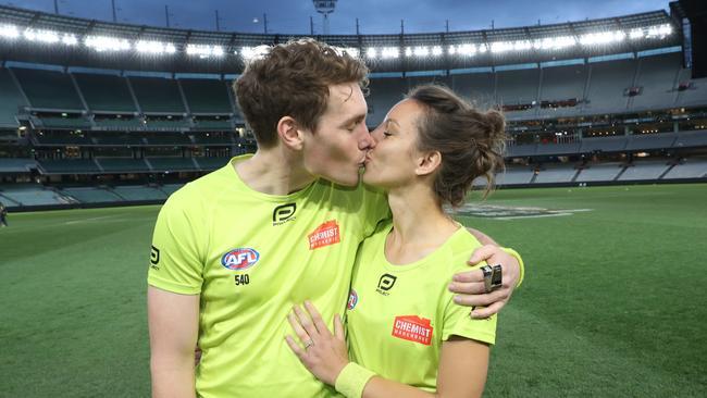 Dillon Tee and Eleni Glouftsis. (AAP Image/David Crosling)