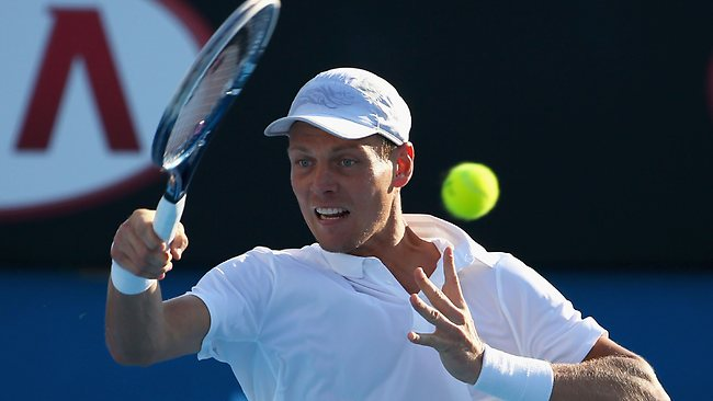 Tomas Berdych of the Czech Republic plays a forehand in his fourth round match against Kevin Anderson of South Africa. Picture: Lucas Dawson