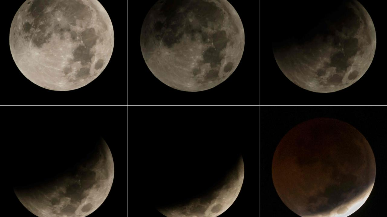 This combination picture shows the transitions of full moon during a 'blood moon' eclipse as seen from Jakarta on July 27, 2018. Picture: AFP
