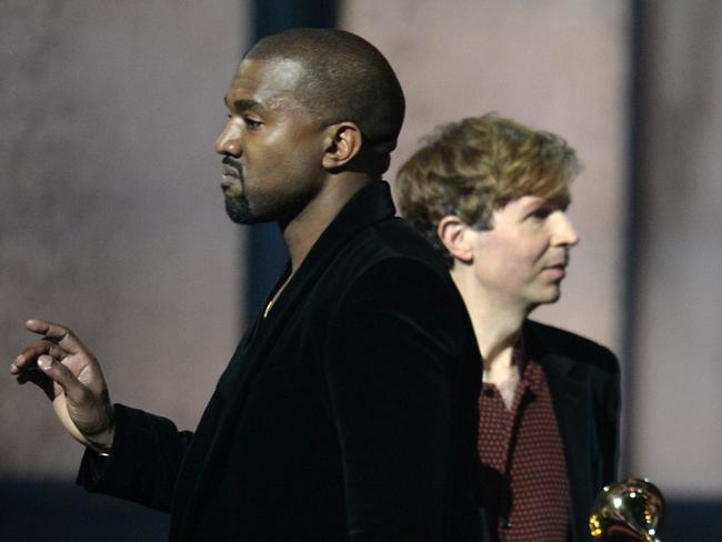 Gatecrash ... Beck reacts as Kanye West appears on stage at the 57th Annual Grammy Awards. Picture: AFP