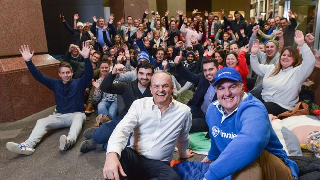 BankSA chief Nick Reade with Vinnies SA chief David Wark and BankSA staff at the bank sleep-out on June 13. Picture: Brenton Edwards.
